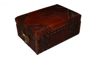 Moose motif leather library box
