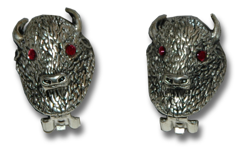 Sterling Silver Buffalo Earrings - Click Image to Close
